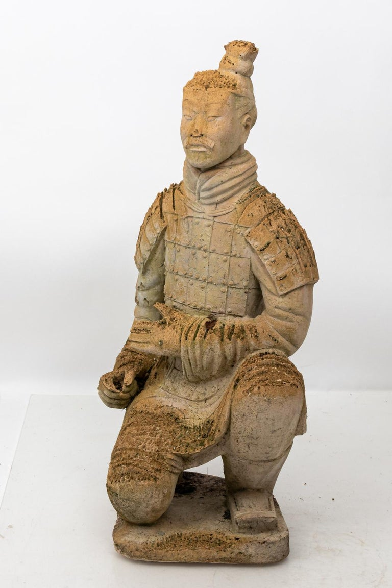 20th Century Pair of Limestone Japanese Warrior Statues For Sale