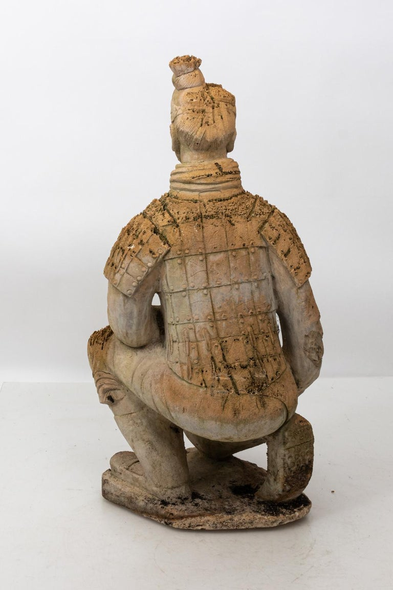 Pair of Limestone Japanese Warrior Statues For Sale 2