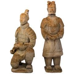 Pair of Limestone Japanese Warrior Statues