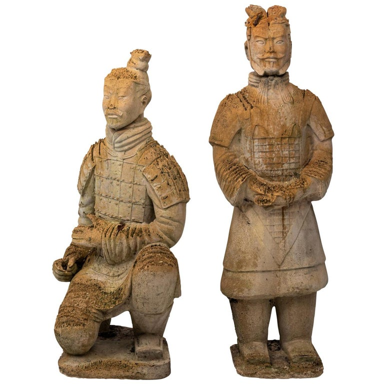 Pair of Limestone Japanese Warrior Statues For Sale