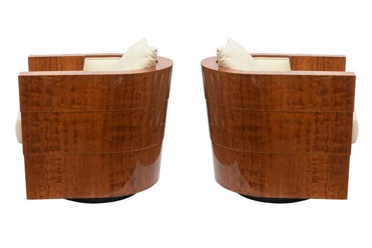 Colombian Pair of Limited Edition Pace Exotic Camino Wood Swivel Club Normandy Chairs For Sale