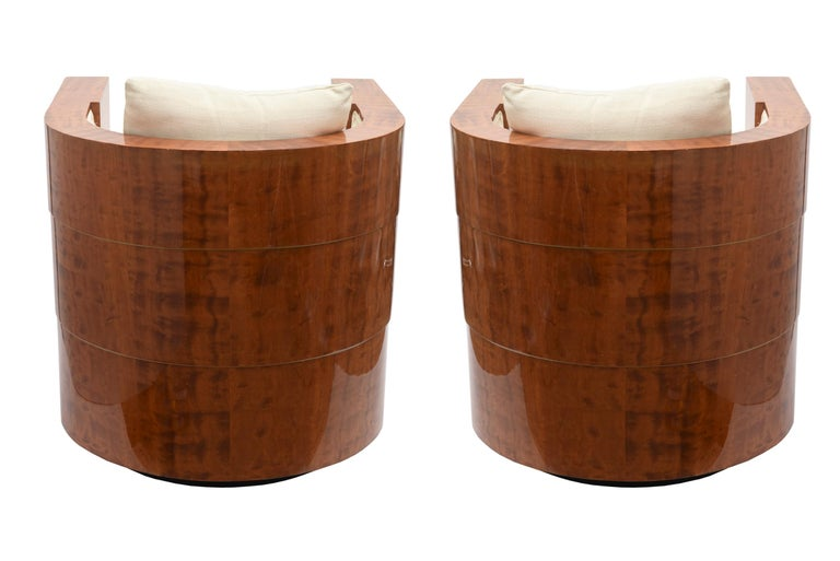Pair of Limited Edition Pace Exotic Camino Wood Swivel Club Normandy Chairs For Sale 1