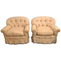 Pair of Lined and Pleated Spectacular Overstuffed Boudoir or Lounge Chairs