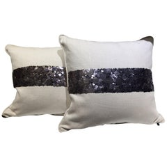 Pair of Linen Cushions Hand Embroidered with Dark Silver Metal Sequins
