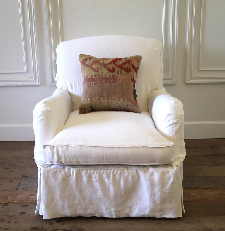 Pair Of Linen Slip Covered English Roll, English Roll Arm Chair Cover