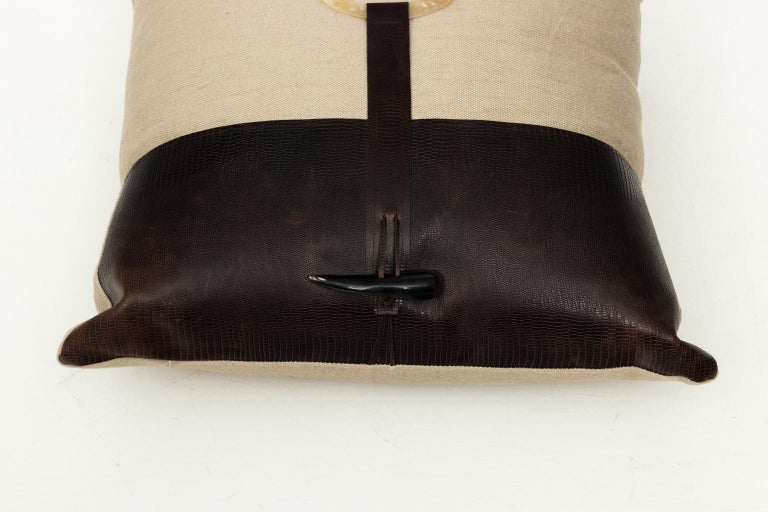 Embossed Pair of Linen Throw Pillows For Sale