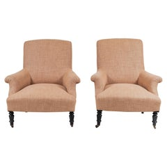 Pair of Linen Upholstered Club Chairs