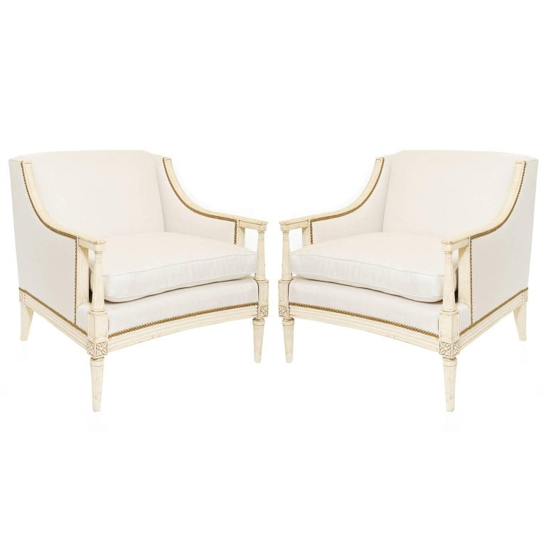 Pair of Linen Upholstered Louis XVI Bergère Club Chairs