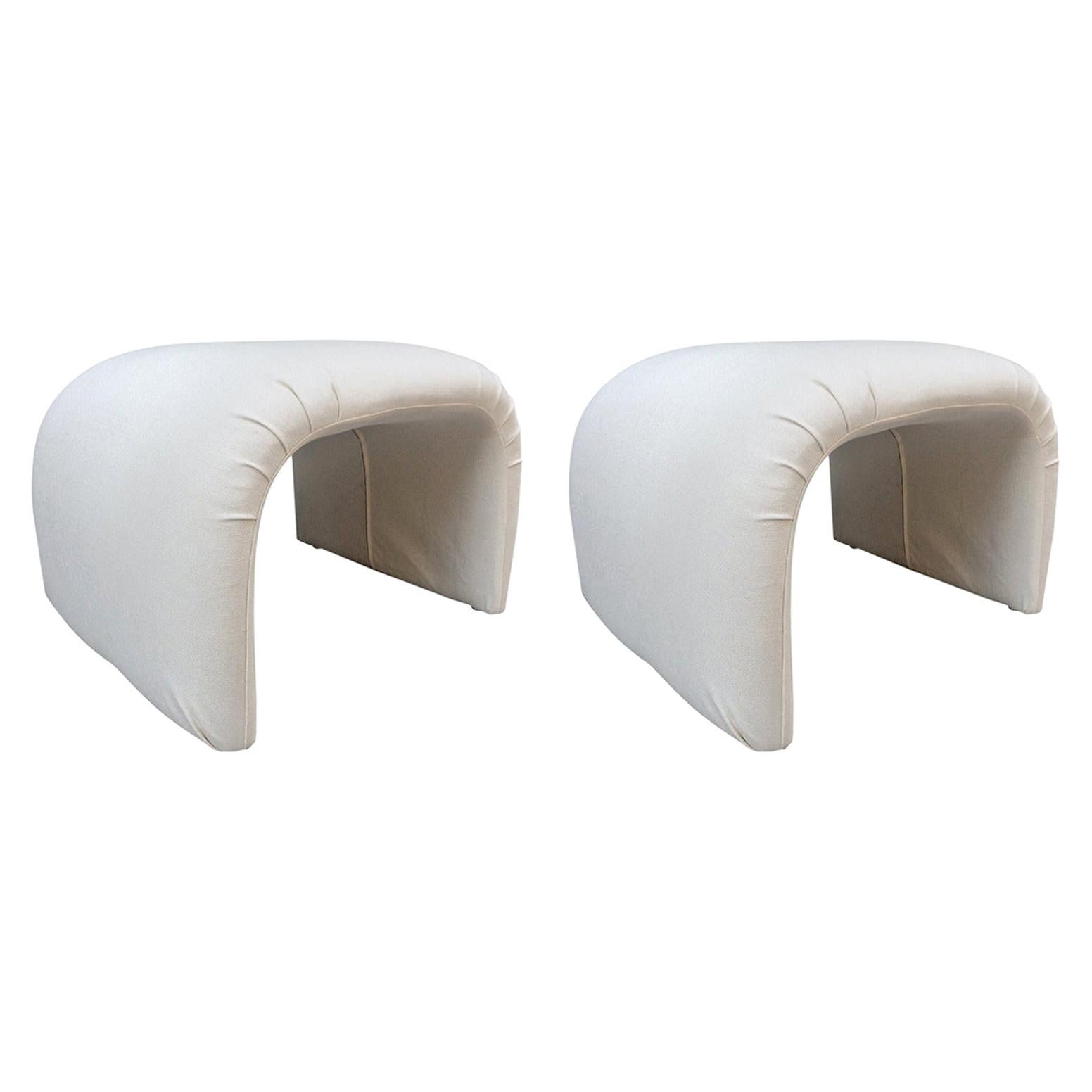 Pair of Linen Waterfall Upholstered Benches