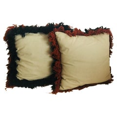 Pair of Linen with Wool Fringe Pillows