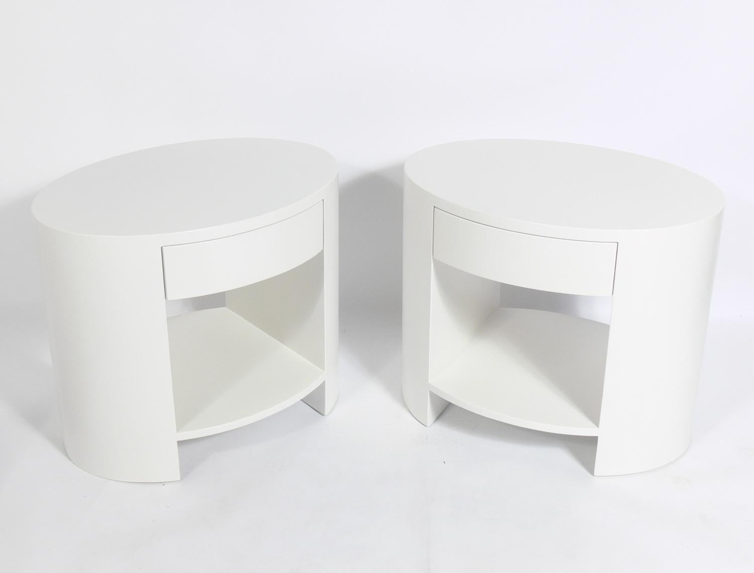 Pair Of Linen Wrapped Oval Nightstands Or End Tables In