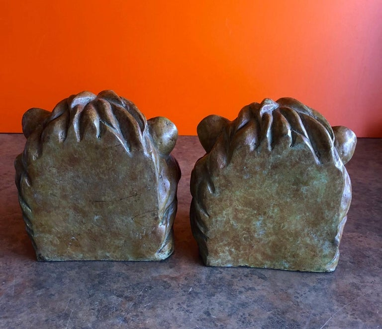 20th Century Pair of Lion Head Bookends in Bronze For Sale