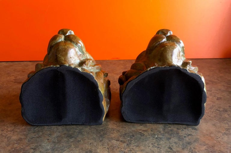 Pair of Lion Head Bookends in Bronze For Sale 1