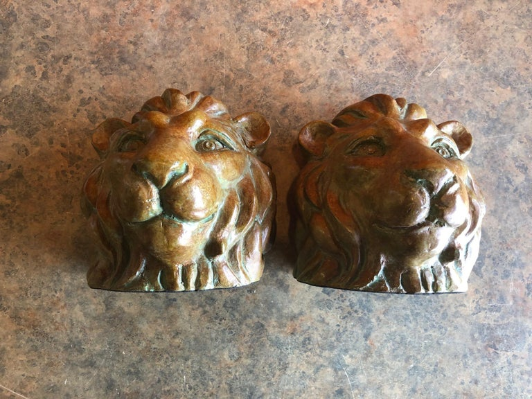 Pair of Lion Head Bookends in Bronze For Sale 2
