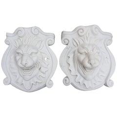 Pair of Lion Head Plaques