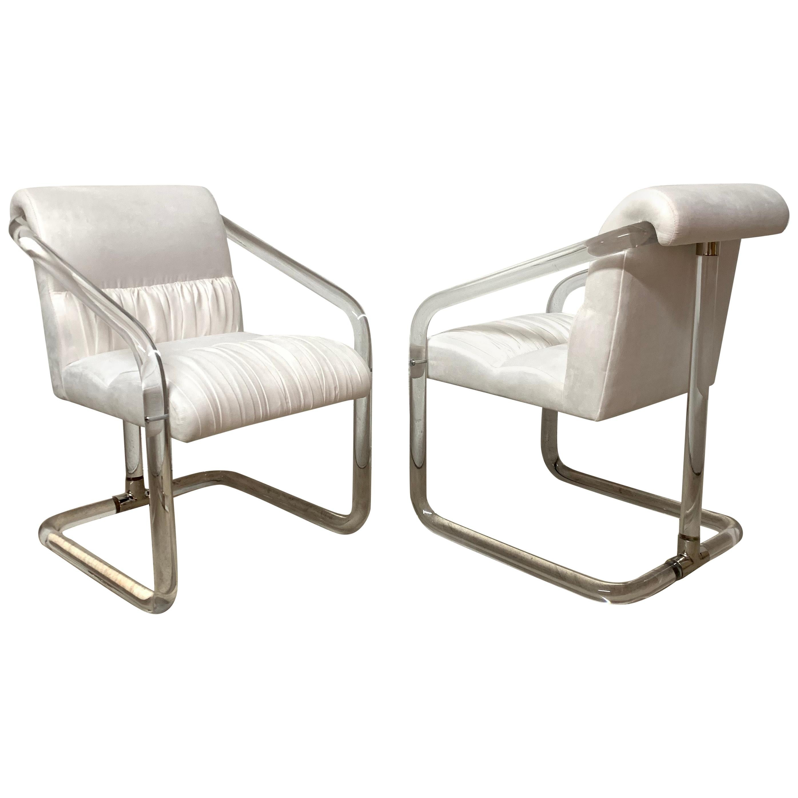 Pair of Lion in Frost Lucite Nickel and Ultra Suede Armchairs, Signed, USA 1970s