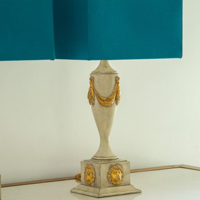 English Pair of Lion Mask Lamps, 1980s For Sale