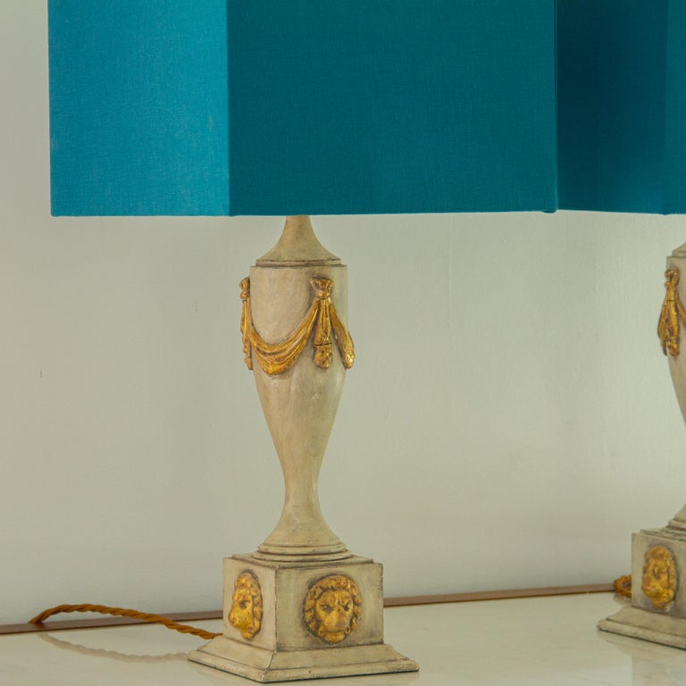 Pair of Lion Mask Lamps, 1980s For Sale 2