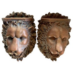Pair of Lion Wall Shelves