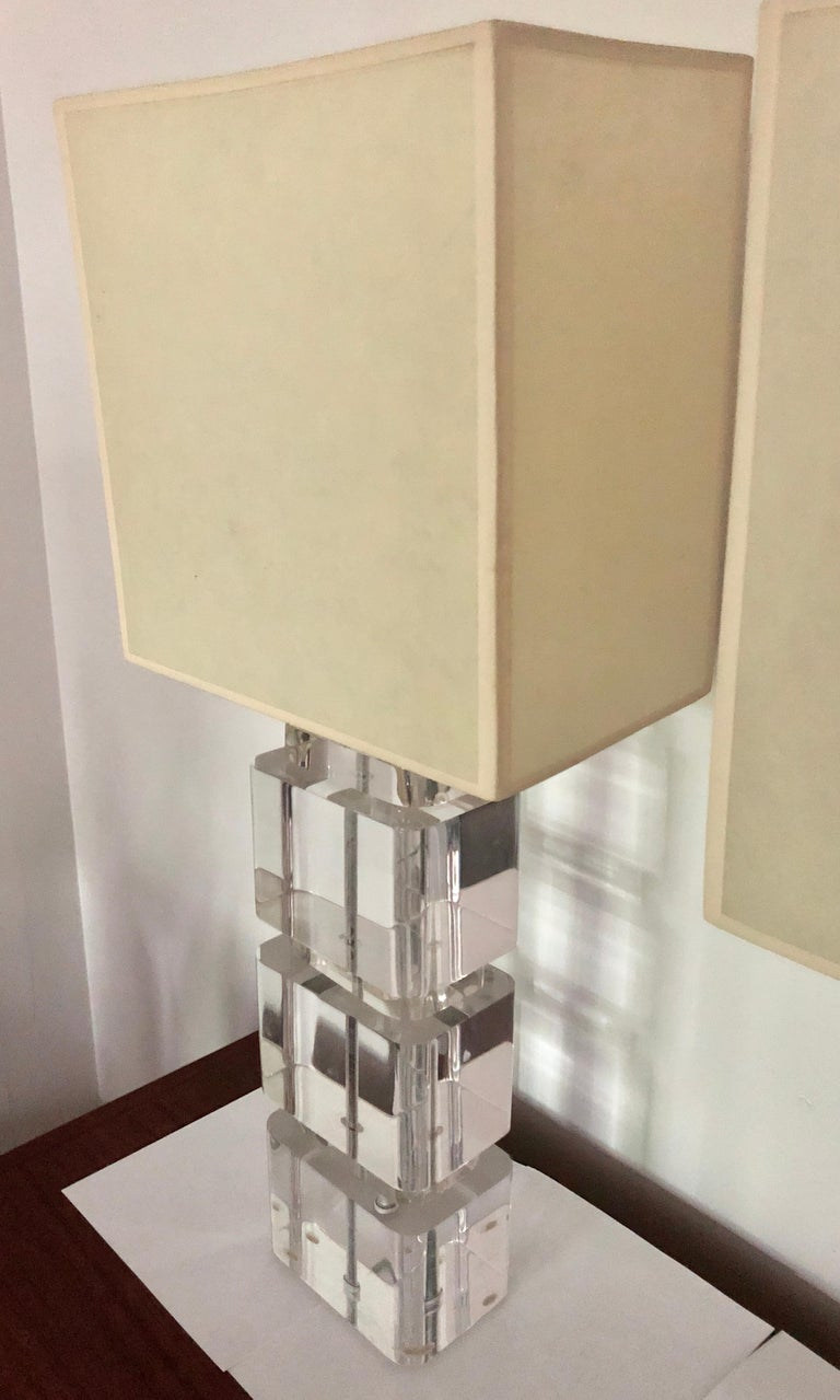 American Pair of Liquid Lucite Column Table Lamps by Karl Springer For Sale