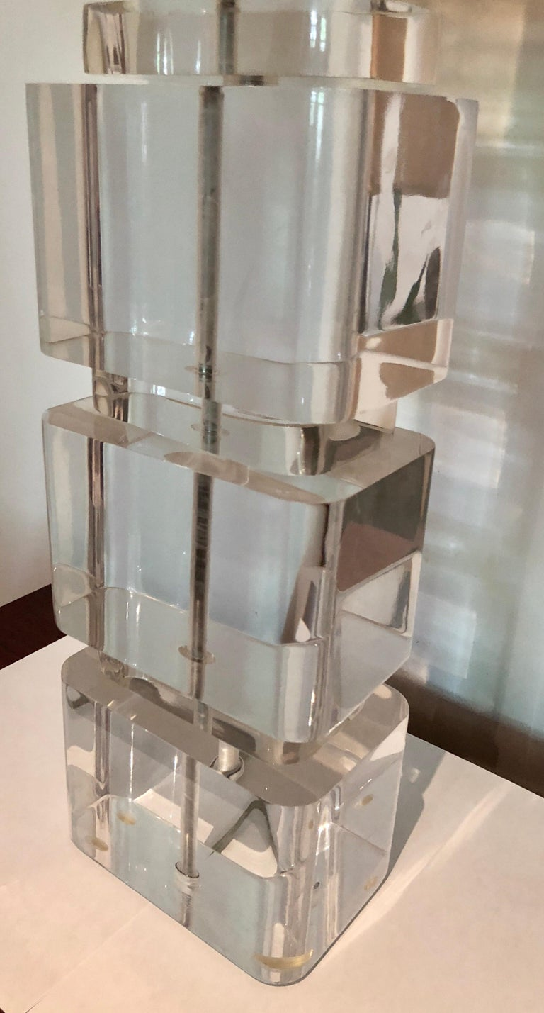 Pair of Liquid Lucite Column Table Lamps by Karl Springer For Sale 1