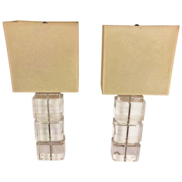 Pair of Liquid Lucite Column Table Lamps by Karl Springer For Sale