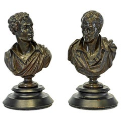 Pair of Literary Bronze Busts of Lord Byron and Sir Walter Scott by E. Hiolle