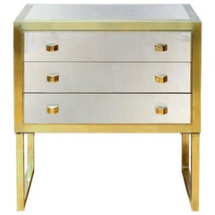 Pair of Little Commodes in Mirror and Brass with Three Drawers