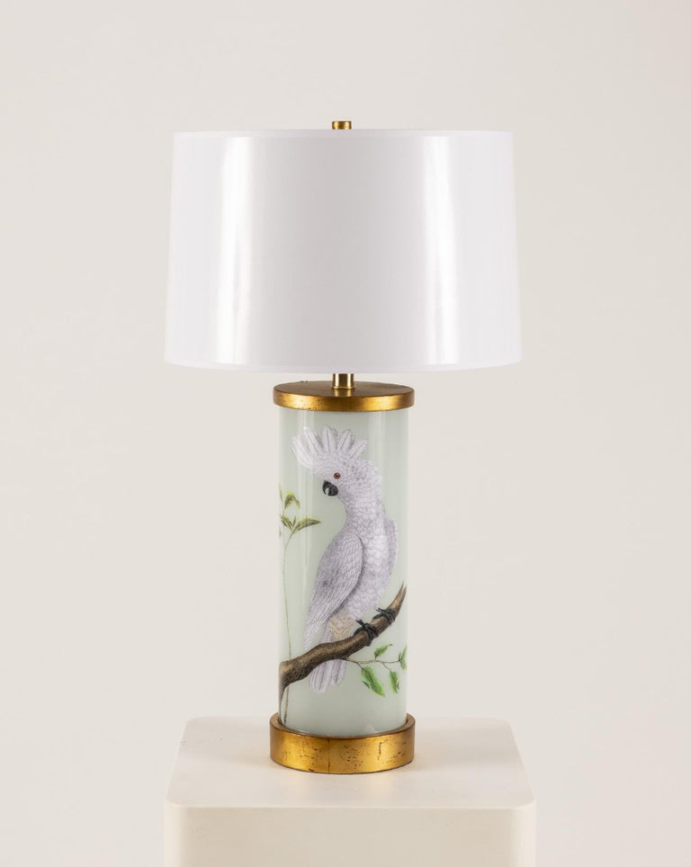Modern Pair of Liz Marsh Cockatoo Eden Lamps with White Paper Shades For Sale