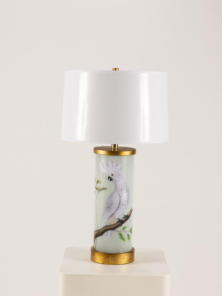 American Pair of Liz Marsh Cockatoo Eden Lamps with White Paper Shades For Sale