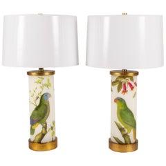 Pair of Liz Marsh Green Parrots Trumpet Flower Eden Lamps with Paper Shades