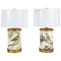 Pair of Liz Marsh Wisteria Fig and Parrot Eden Lamps with Paper Shades