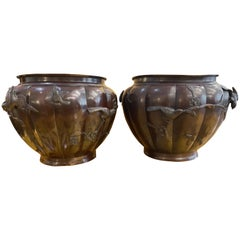Pair of Lobed Bronze Japanese Planters