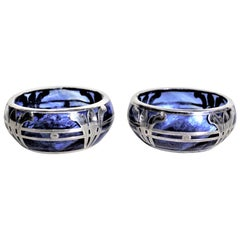 Pair of Loetz Successionist Blue Art Glass Open Salt Cellars with Silver Overlay