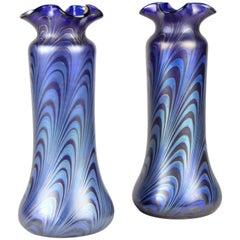 Pair of Loetz Witwe Glass Vases Phaenomen Genre 7624, Bohemia, circa 1898