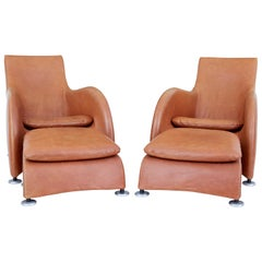 Pair of Loge Leather Armchairs and Stools by Gerard Van Der Berg