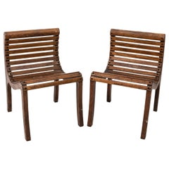 Pair of Lolling Oak Chairs