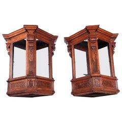 Pair of Lombard Lanterns, Walnut and Glass, Italy, 17th Century