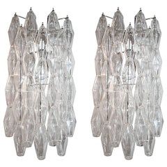 Pair of Long 1970s Venini Style Polyhedron Murano Glass Sconces