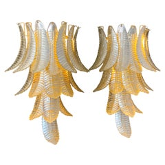Pair of Long Golden Murano Glass Sconces in Palm Tree Shape
