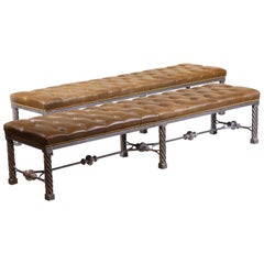 Pair of Long Modern Tufted Leather Benches