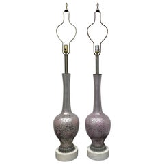 Pair of Long Stem Mercury Lamps on Marble Base