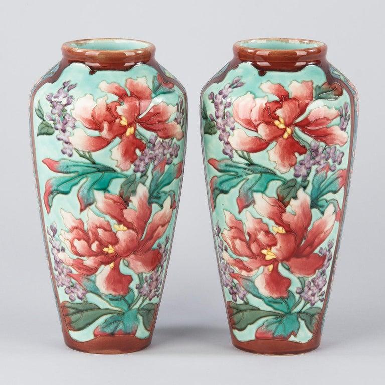 Pair of Longchamp Majolica Ceramic Vases, 1900s For Sale 4