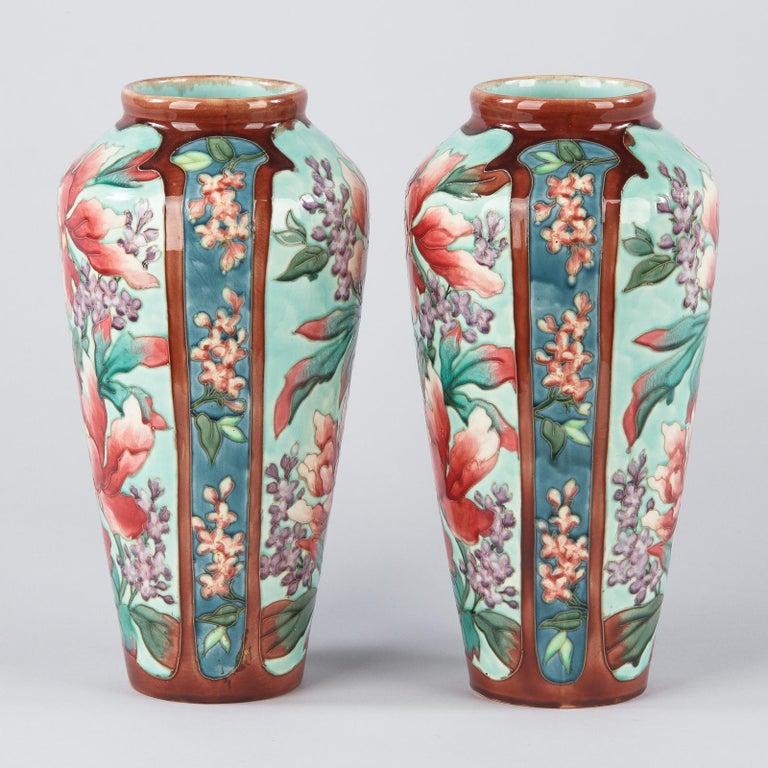 Pair of Longchamp Majolica Ceramic Vases, 1900s For Sale 5