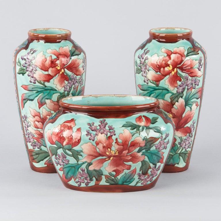 Pair of Longchamp Majolica Ceramic Vases, 1900s For Sale 13