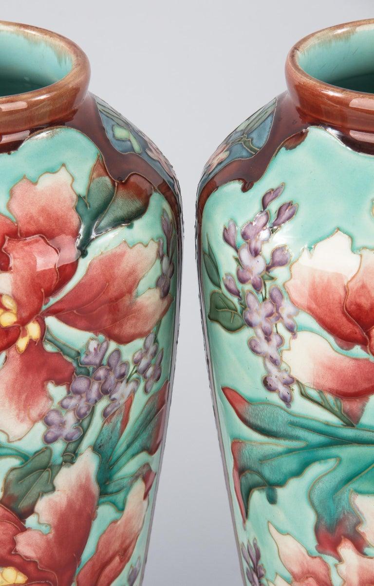 Art Nouveau Pair of Longchamp Majolica Ceramic Vases, 1900s For Sale