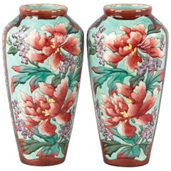 Pair of Longchamp Majolica Ceramic Vases, 1900s
