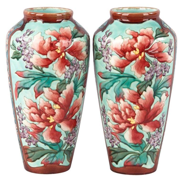 Pair of Longchamp Majolica Ceramic Vases, 1900s For Sale