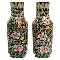 Pair of Longwy Ceramic Vases
