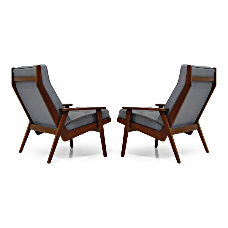 Fabric Pair of Lotus Chairs by Robert Parry for Gelderland, Denmark 1950s, Restored For Sale
